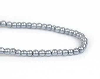 3mm SILVER GREY Gray Round Glass Pearl Beads, double strand, about 270 beads, bgl1608