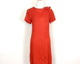 Mid Mod Linen Shift - Retro Tomato Red Stacy Ames Dress -Size Medium