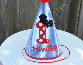 Mickey Mouse Birthday Hat, Personalized, Any Age