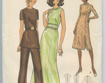1970's Butterick 6468 Misses' A Line Evening Dress, Princess Seam Tunic Top and Straight Leg Pants Vintage Sewing Pattern Bust 39