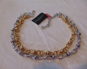 vintage givenchy nwt two tone knots double strand necklace signed