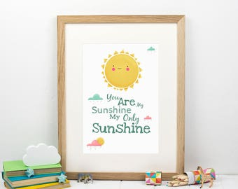 You Are My Sunshine Print - Typography print - Sunshine nursery print - Gift for boy - Yellow Nursery Print - Gift for Girl - Baby shower