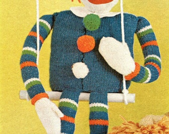 1960's Clown Doll Knitted Instant Download PDF Pattern