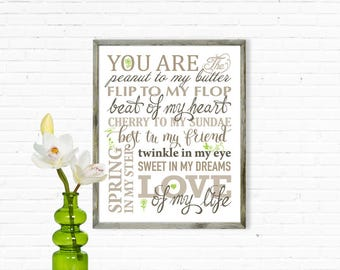 You Are the peanut to my butter wall art print, INSTANT DOWNLOAD birthday gift Art Print, Printable wall decor, digital design, you are..