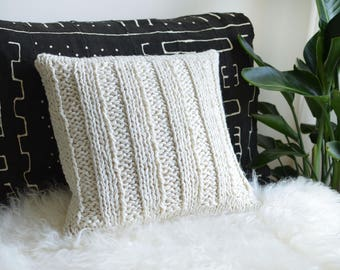Chunky Knit Cushion | Chunky Knit Pillow | Hand Knit Wool Cushion Pillow Cover | Rib Knit | MILK WHITE | 50cm/20""