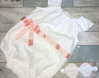 White Romper, Baby Girl Sunsuit, Boho, Complete Baby /Toddler Set, Knot Bow Headband, 1st Birthday, Christening,Summer White Linen Playsuit
