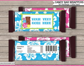 Luau Theme Party - Candy Bar Wrappers - Party Favors - Chocolate Labels - INSTANT DOWNLOAD with EDITABLE text - you personalize at home