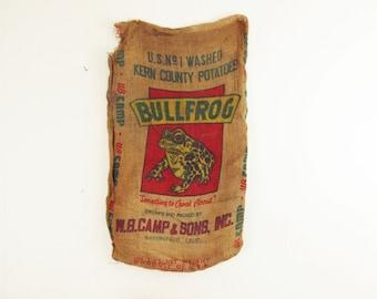 wall decor,wall hanging,vintage textile,advertising,grain sack,coffee sack,vintage burlap sack BULLFROG potatoes circa 1950
