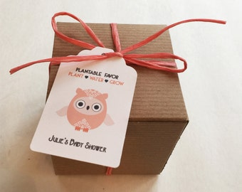 50 Owl baby shower favors -  Boxed personalized favors - assembly required