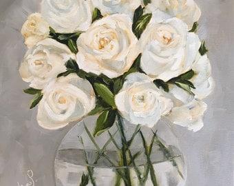 Original oil painting: White Rose Bouquet, floral painting, white, gray,  fine art canvas