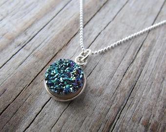 Green Druzy Pendant, small sparkly round druzy, green stone necklace