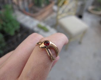 Antique 14k Yellow Gold Snake Serpent Ring with Rose Cut Garnet