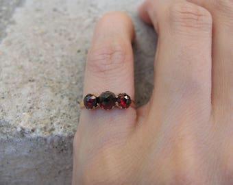Antique Victorian Era 3 Stone Rose Cut Garnet Ring in 18k Rosy Gold