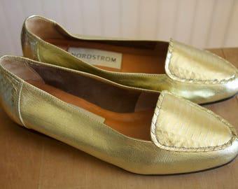 Vintage 1990's Gold Nordstrom Loafers 6W
