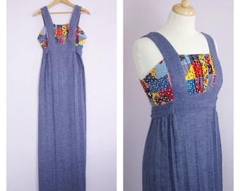Vintage 1970's Blue Chambray Patchwork Prairie Festival Maxi Dress S