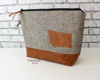 AVA Clutch -Large -Oyster Grey Denim with Montana Patch with PU Leather READY to SHIp Cosmetic Wallet Makeup Diapers