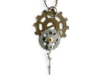Industrial Neo-Victorian Repurposed Handmade Ooak Machinery Steampunk Tiny Collage Necklace