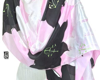 Hand painted Silk Shawl, Oversized Scarf, Pink Silk Scarf, Pink, White and Black Kimono Lily Silk Wrap, Silk Scarves Takuyo, 22x90 inches.