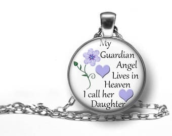 """Daughter, My Guardian Angel In Heaven, Remembrance, Pendant, Necklace, In Memory Of, Memorial, Keepsake, Gift, Antique Silver, 18"""" Chain,"""