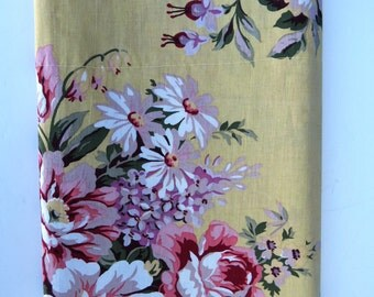 Ralph Lauren Valance BROOKE Floral Country Cottage Pink Cabbage Roses Florals on Yellow Curtains Window Covering Home decor