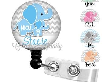 NICU Nurse Badge Holder, Personalized Darling Elephants, 5 Artwork, Choice of Retractable Badge Reel,Carabiner,Lanyard or Steth ID Tag
