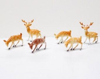 Mid Century Family of Plastic Deer - Christmas
