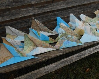 FLYING MAP Paper Airplanes.  Wedding Decoration, Party, Birthday, Travel Wedding, Escort Card, Kids, Children, Fun Favor, Unique Game