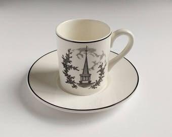 Black transferware espresso cup, 1959 Ohio University, demitasse cup, Architectural