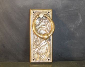 Vintage Brass Art Nouveau Door Knocker Dragonflies