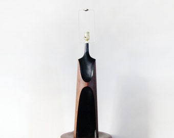 Mid Century Modern Sculptural Black / Wood Laurel Table Lamp