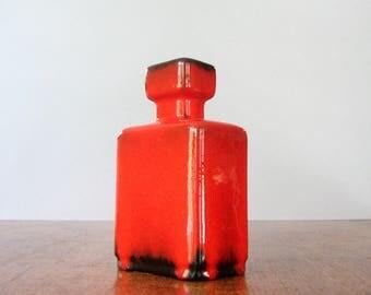 Vintage Jopeko West German Vase Vivid Red / Black Geometric 60's / 70's