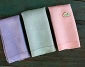 Pastel Irish Linen Hand Towel Set, Vintage Linens, Irish Linens, Vintage Linens, Pastel Tea Towels