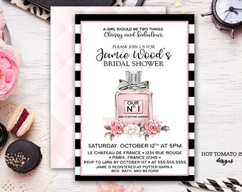 Bridal Shower Invitation- Perfume bottle invitation-Paris invitation  black and white elegant- pink- watercolor- french invitation-printable