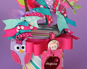 Personalized Teacher Gift, Container, Gift Packaging, Owl Altered Paint Can, You're a Hoot Owls