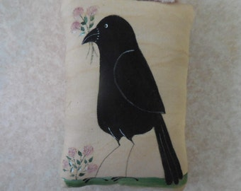 Primitive Summer Folk Art Crow and Flowers Wall Hanging Pillow Tuck