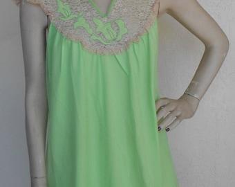 Vintage Avian Nightgown Chiffon Nylon Romantic Negligee Green Small