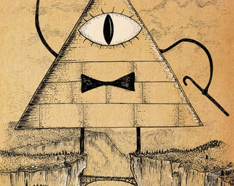 I'll Be Watching You- Gravity Falls inspired Bill Cipher art print A4 size