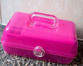 Vintage Caboodle Make up Case, Hot Pink Makeup Organizer, Made in USA, Pink Caboodle