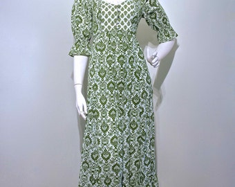 Vintage Early 1970s REGENCY STYLE Folk Printed Cotton Floor Length Maxi Dress by EARLYBIRD // British Boutique label