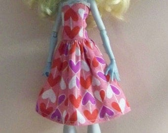 Handmade Monster High Doll Clothes- Pink with Multi Colored  Hearts Valentine's Monster High Dress