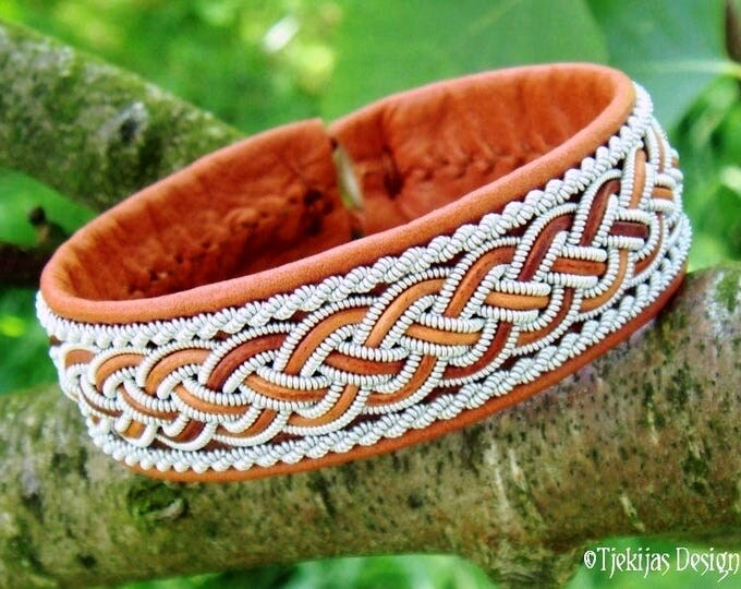 Unisex Sami Bracelet Cuff GIMLE Handmade Lapland Viking Bracelet in Cognac Brown Reindeer Leather with Pewter and Leather Braid
