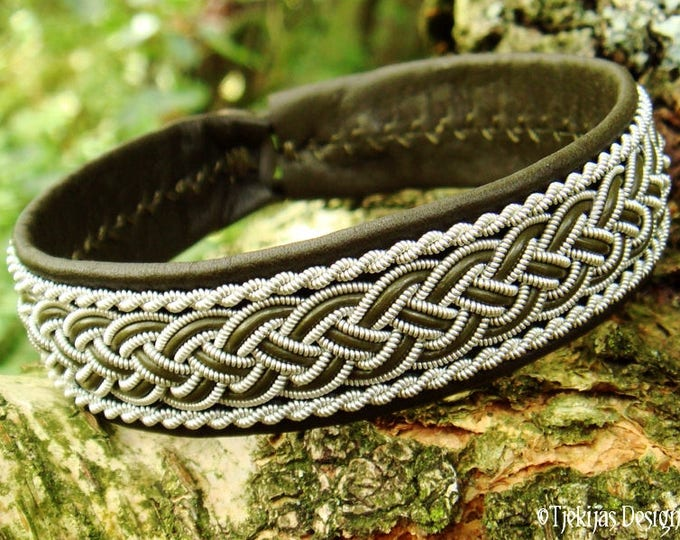 GIMLE Viking Bracelet Cuff | Handcrafted Sami Armband in Olive Green Leather, decorated with Pewter Braids | Unisex Norse Folklore Jewelry