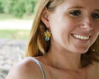 Gold Chalcedony Earrings, Silver Chalcedony Earrings, Seed Bead Earrings, Bohemian Earrings, Blue Chalcedony