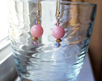 Pink Earrings Coral Swarovski Crystal Gold Bead Earrings in Gold