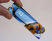 Fused glass mezuzah dichroic glass, blue, orange with gold painted Shin