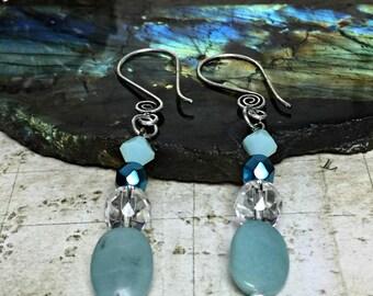 Amazonite Earrings - Gemstone Jewelry, Green Gifts, Teal Earrings, Womens Earrings, Earrings For Her, Amazonite Stone, Swarovski Crystals