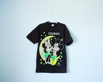 Vintage 70's Velva Sheen Walt Disney Mickey & Minnie Mouse Colorado Black T-Shirt, Made in USA, Size Large  / ITEM564