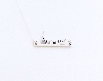 I Love Paris in the Springtime pendant necklace, cityscape, landscape, handcut, gift, travel jewelry