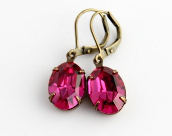 Fuchsia earrings, pink earrings,  pink oval earrings, prom earrings, hot pink earrings, grad earrings, Fuchsia wedding, bright pink wedding