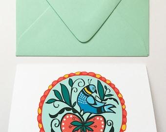 Distelfink Hex Sign- Blank Greeting Card